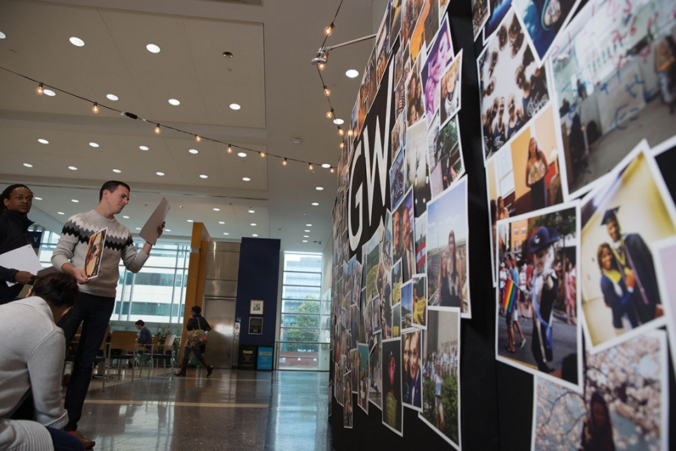 Over 150 photos were used on the wall